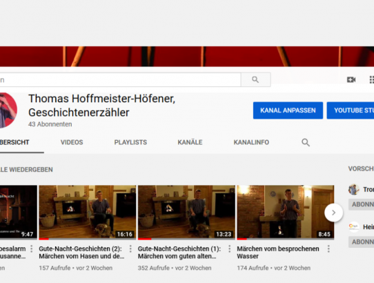 Erzählte Geschichten für alle Daheimgebliebenen - auf neuem YouTube-Channel!